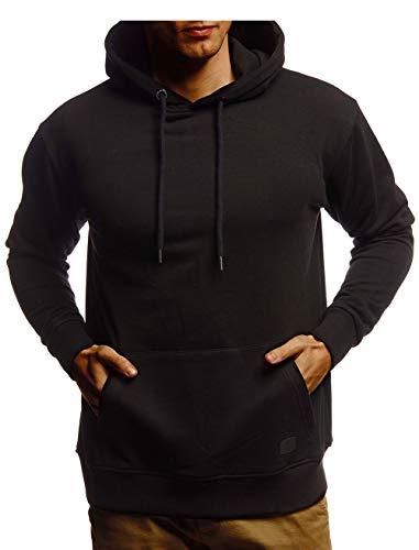 Leif Nelson Herren Hoodie Pullover mit Kapuze Oversize Kapuzenpullover für Männer Pulli Longsleeve Sweatshirt Kaputze Langarm LN8351 Größe L Schwarz