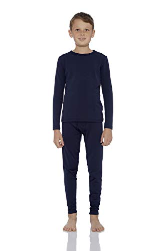 Rocky Thermal Underwear for Boys Fleece Lined Thermals Kids Base Layer Long John Set (Navy - Large)