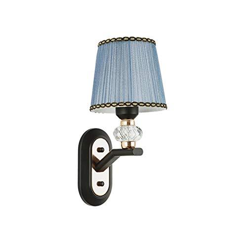 Lámpara de pared Lámpara de pared negra simple moda creativa sala de estar dormitorio paredes de paredes de noche con tela azul Shade Hotel Aisle Plata Lámpara de pared y soporte E27 Lámpara de pared