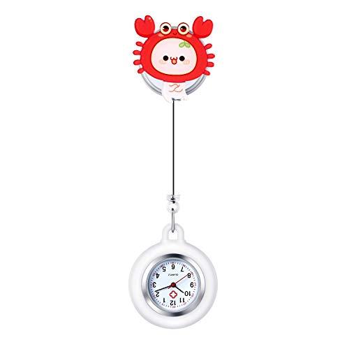 Lancardo Reloj Enfermera Cáncer de 12 Constelaciones Reloj Médico de Bolsillo de Cuarzo Reloj para Doctor Prendedor de Broche Paramédico Uso Hospital Clip de Uniforme Longitud Estirable