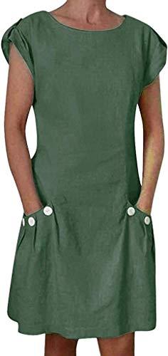 Letnie sukienki damskie lniane ubrania do kolan mini linia sukienka okrągły dekolt koszulka z krótkim rękawem tunika bluzka sukienka moda vintage kwiatowy nadruk na co dzień wakacje sukienka plażowa sukienka rekreacyjna z kieszenią