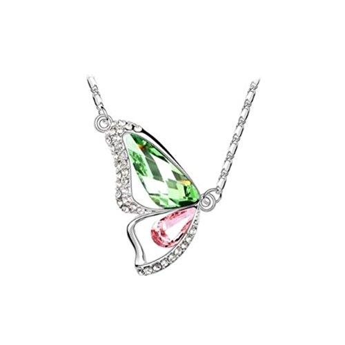 Durshani Peridoto Verde E Rosa Chiaro - Collana in Argento con Ciondolo di Cristallo Swarovski by