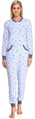 Merry Style Damen Schlafanzug Strampelanzug Schlafoverall MS10-175 (Blau/Sterne Graphite, L)