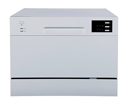 SPT SD-2225DS Compact Countertop Dishwasher/Delay Start Energy Star Portable Dishwasher with Stainless Steel Interior and 6 Place Settings Rack Silverware Basket/Apartment Office Home Kitchen, Silver