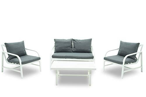 Completo Sirio Set Salotto da Giardino Divano 2 POSTI + 2 POLTRONE + TAVOLINO in Alluminio Bianco E Cuscini Antracite