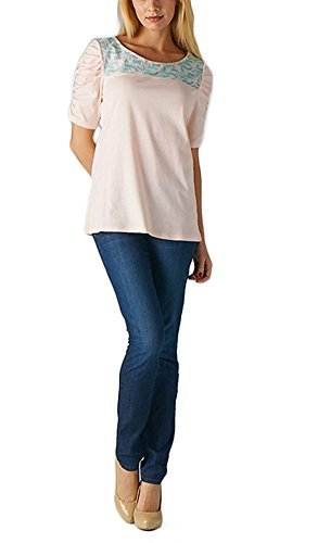 Femme Women Scoop Neck Puff Sleeves Embroidered Detail Casual Top M Blush