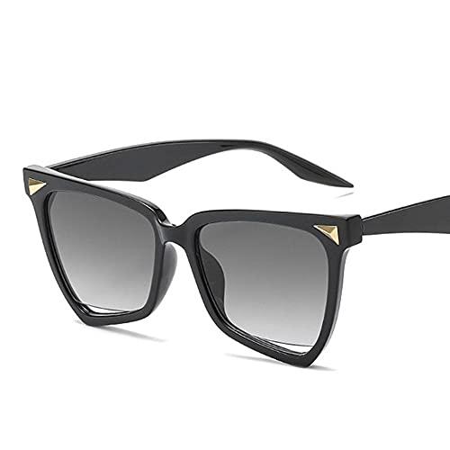 HAIGAFEW Gafas De Sol De Ojo De Gato para Mujer Gafas De Sol Cuadradas con Punta De Leopardo Gafas De Sol Transparentes con Degradado para Mujer Gafas Uv400 Proteger Los Ojos-Gris Oscuro