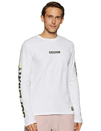 Superdry Trophy Camo L/s Tee T-Shirt À Manches Longues, Blanc (Optic 01c), L Homme