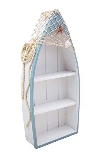 generich Boot mit Regalböden 21x44 cm Holzregal maritim Badezimmerdeko Schiff zum Stellen 30363