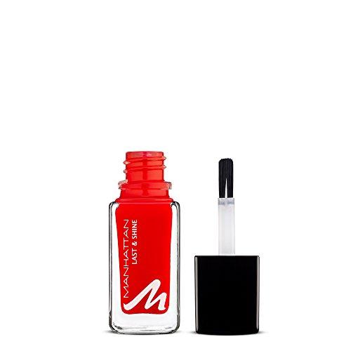 Manhattan Last & Shine Nagellack – Knallroter, glänzender Nail Polish für 10 Tage perfekten Halt – Farbe Stiletto Lover 609 – 1 x 10ml