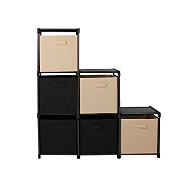 mockins 3 Tier Storage Rack Bookcase Shelf Bundle With 6 Foldable Cube Storage Bins That Perfectly Fit Into The 6 Cube Closet Organizer Cabinet - Black & Beige Bins