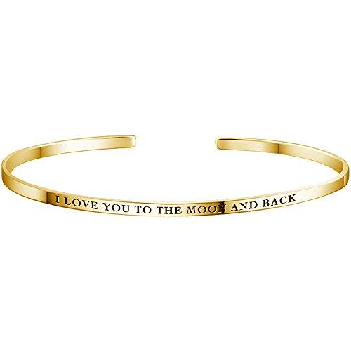 Soufeel Personalisierter Armreif Armband mit Gravur & Wunschnamen graviert Damen Schmuck Minimalist Armschmuck für Frauen Farbe: 14K Gold Bereite 2,8 mm