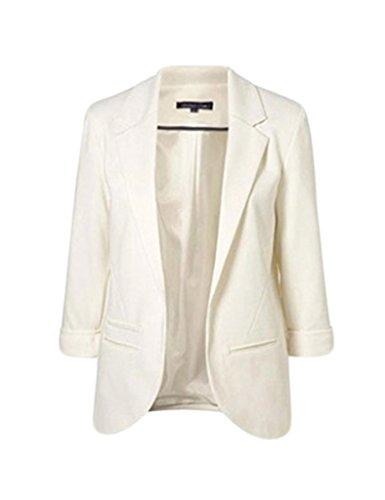 Bestgift Blazer feminino básico casual curto slim, Branco, L