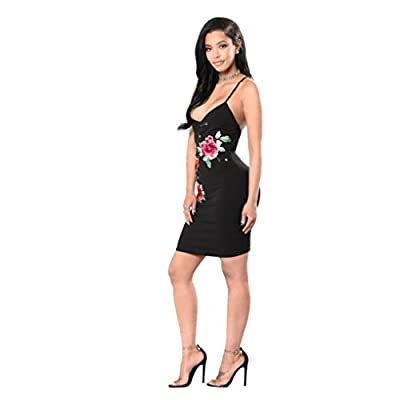Bluester Sexy Women Bodycon V-Neck Rose Embroidery Bandage Party Dress