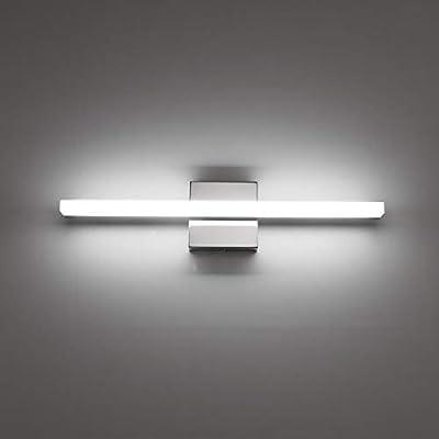 Combuh LED Bathroom Vanity Light Mirror Lighting Fixture 16 Inch 9W Wall Lamp Indoor Modern Cool White 6000K Chrome