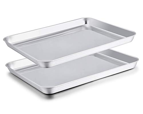 TeamFar Baking Sheet Set of 2, Baking Pans Tray Cookie Sheet Stainless Steel, Non Toxic & Healthy, Mirror Finish & Rust Free, Easy Clean & Dishwasher Safe
