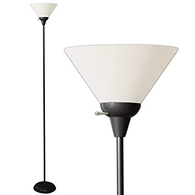 Floor Lamp by Light Accents - Mary Floor Lamp for Living Rooms - Standing lamp - Pole Light - Torchiere Floor Lamp - Bedroom Floor Lamp - Torch Lamps Bright Reading Light with White Shade - Black