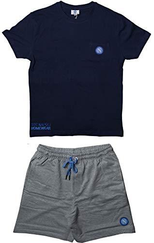 ssc napoli P19b1n90603, Completo Life Style Uomo: Maglia Girocollo con Taschino con Pantaloncini Unisex – Adulto, Blu, S