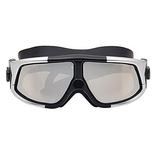 LANGTAO Gafas Buceo Alta Definición, Gafas Impermeables Antivaho, Gafas Natación Resistentes Desgaste con Montura Grande, Gafas Silicona Anti-Ultravioleta, Aptas para Nadar Surfear,Gris