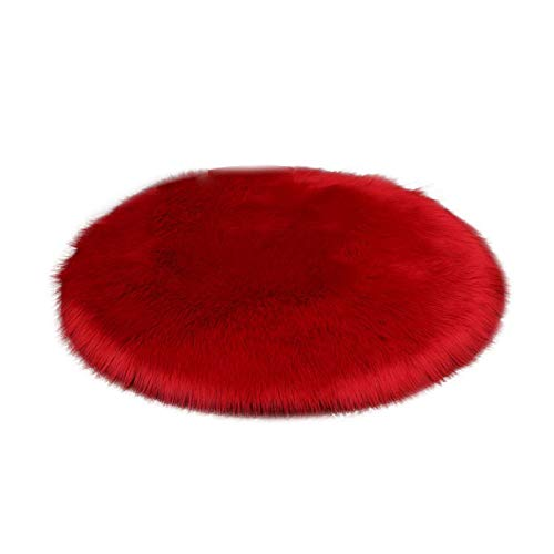 HUOLEO Soft Faux Fur Fluffy Rug,Round Shaggy Area Rugs Anti Slip Washable Plush Modern Home Decor Carpet For Bedroom Living Room-M-45X45cm(18X18in)