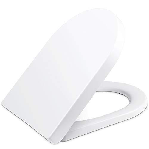YISSVIC Copriwater Sedile WC Universale Coperchio a Forma di U con Chiusura Ammortizzata Soft Close Coperchio Bagon in Plastica Antibatterico Toilet Seat Bagno Bianco