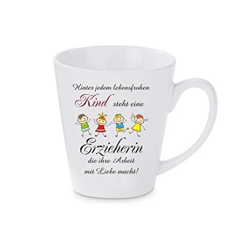 Crealuxe Konische Kaffeetasse, Kaffeepott Hinter jedem lebensfrohen Kind Steht eine Erzieherin. - Kaffeebecher, Becher mit Motiv, Bedruckte Latte oder Cappuccinotasse, auch indualisierbar.