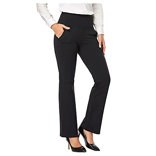 Agenlulu High Waisted Pants for Women - 4 Way Stretch Comfy Non See Through Bootcut Yoga Dress Pants Sweat Pants Women Casual Black