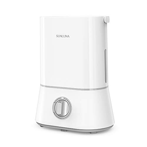 SUNLUNA SL-AH001 Cool Mist, 26dB Quiet, 4L Ultrasonic Humidifiers for Large Bedroom Home Babies, 360° Nozzle, Waterless Auto Shut-Off, White