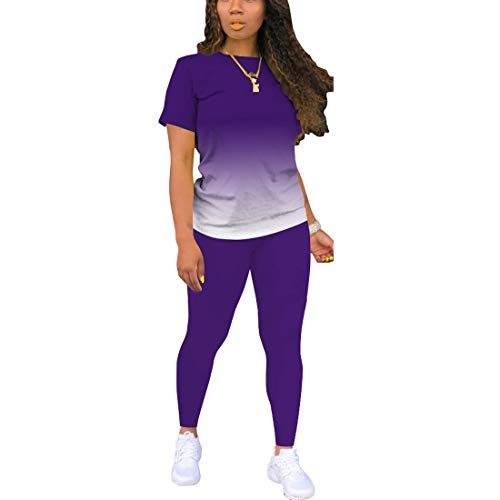 Two Piece Outfits For Women Sexy Sweatsuits Sets Summer Jogging Suit Matching Athletic Clothing Fashion Tracksuit Gradient Purple XL