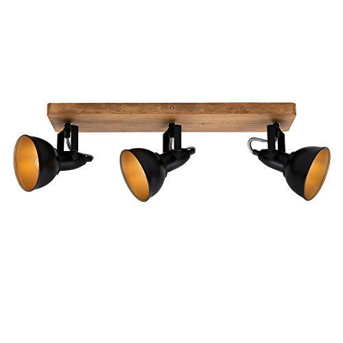 Briloner Leuchten - Spotleuchte, Deckenspot retro, Deckenleuchte vintage, Spots dreh- und schwenkbar, 3x E14, max. 25 Watt, Metall-Holz, Schwarz-Gold, 500x110x157mm (LxBxA)