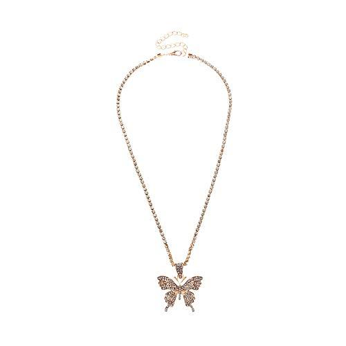 sudalv1971 Collar De Moda para Mujer, Medallón De Diamantes De Imitación, Colgante con Forma De Mariposa, Joyería, Accesorio Exquisito para Uso Diario 1