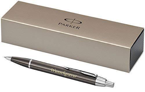 Exklusiver PARKER Kugelschreiber Modell IM Gun Metall inkl. Gravur Lasergravur graviert neu