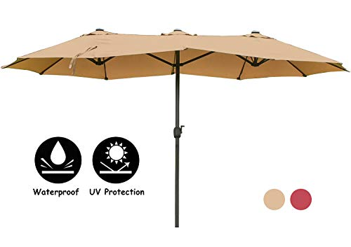 15Ft Patio Double-Sided Umbrella with Crank Patio Market Table Umbrella for Garden, Deck, Backyard and Pool(Khaki)