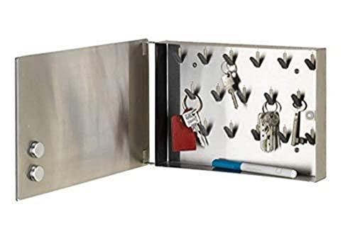 WENKO Caja-llavero magnética Espejo - Armario para llaves, tablero magnético con espejo, 17 ganchos, Vidrio endurecido, 30 x 20 x 5 cm