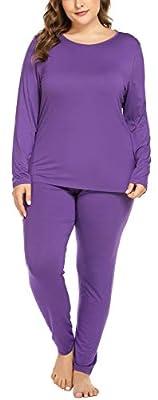 Women's Plus Size Long Johns Sets 2 Pcs Base Layer Sets Thermal Underwear Top & Bottom Pajamas(16W-28W) Purple