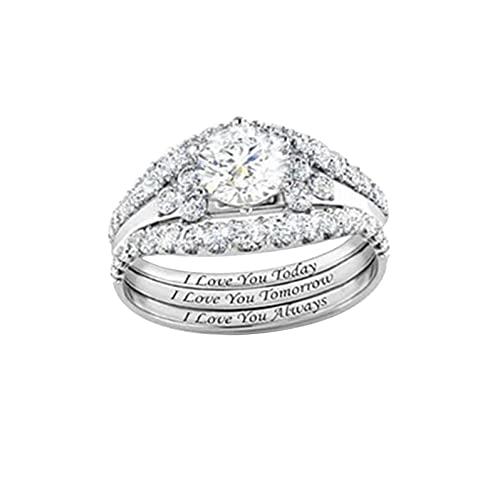 3 Pcs Women's Crystal Rhinestone Rings Fashion Wedding Engagement Anniversary Statement Rings Gift Jewelry Accessories