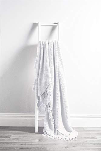Olivia Rocco Lisbon Throw 100% Cotton Plain Honeycomb Sofa Bed Chair Cover Throws Tasselled Decorative Blanket, 178 x 254 cm (70' x 100') White