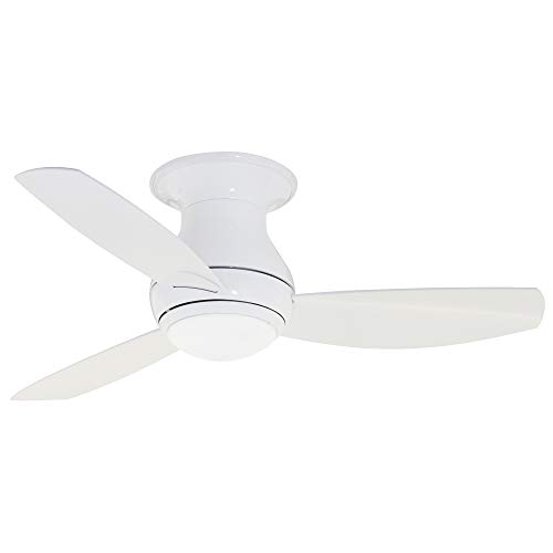 Luminance kathy ireland HOME Curva Sky LED Outdoor Ceiling Fan with Light Kit, 44 Inch | Modern Flush Mount Fixture with Weather Resistant Blades | Dimmable with Remote Control, Appliance White