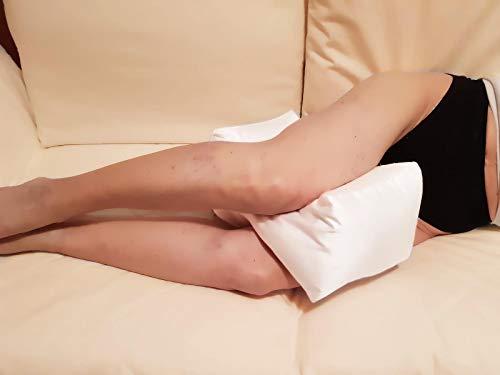 PAPILLON -Bianco- Cuscino per Ginocchio e Gambe in Fibra Cava Siliconata, Separatore per Ginocchia, Supporto per Dormire di Notte, Antidecubito, Sciatica, Dolori Articolari, Per Chi Dorme Su Un Lato
