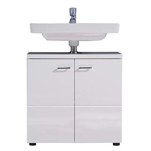 trendteam Badezimmer Waschbecken Unterschrank Schrank Nightlife, 65 x 63 x 35 cm in Weiß Hochglanz mit viel Stauraum