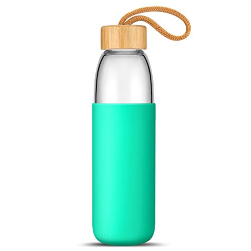 Best BPA-Free 18 Oz Borosilicate Glass Water Bottle with Protective Silicone Sleeve and Bamboo Lid - Dishwasher Safe (Seafoam) (Seafoam)