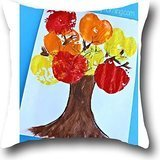 Goling BBay art tree Decorative Ramie Cotton Square Pillow Cover Cushion Case Pillow Cotton Modern Bicycle Print Throw Pillow Cover 1818