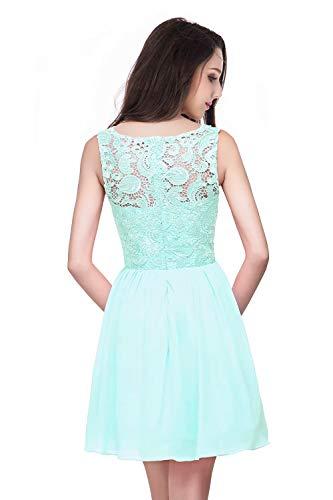 Damen Spitze Hochzeitskleid Standesamt Kleid Brautkleid Rückenfrei Kurz Mint Grün 36