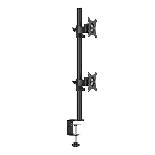 """BESTEK Monitorständer, 17\""""-27\"""" Zoll Monitor Halterung 2 Monitore, LED/LCD Schreibtisch Monitorhalterung Tisch Ständer höhenverstellbar, Neigbar 180° Schwenkbar 360°, 2 * 10KG VESA 75/100, Schwarz"""