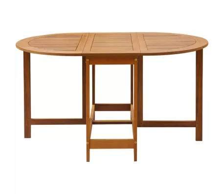 Wakects Gartentisch Bistrotisch Klappbar Holztisch Garten Tisch wetterbeständig Terrasse 130x90x72 cm ovale Gartenmöbel Akazie Massivholz