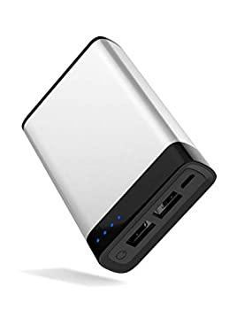 TalkWorks Portable Charger Power Bank USB Battery Pack 6000 mAh - External Cell Phone Backup Supply for Apple iPhone 12 11 XR XS X 8 7 6 SE iPad Android for Samsung Galaxy - Silver
