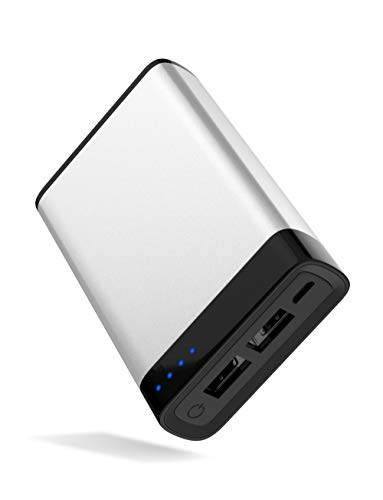 Portable Charger Power Bank Battery - by TalkWorks | 6000 mAh | Cell Phone Backup External Dual USB Power Pack for Apple iPhone 11, XR, XS, X, 8, 7, 6, iPad, Android Samsung Galaxy and More - Silver