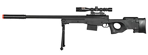 AirSoft P2703B L96 Black Spring Sniper Rifle Bolt Action AWP with Scope