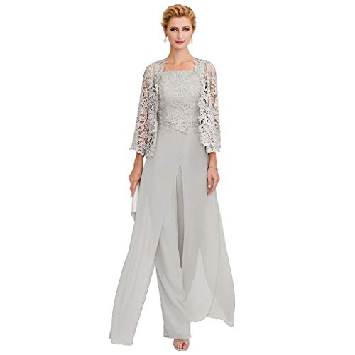 WAZA Hosenanzug/Jumpsuit-Träger Bodenlanges Kleid für die Brautmutter aus Chiffon/schnurgebundener Spitze mit Applikationen/Spitze/Schlitz vorne