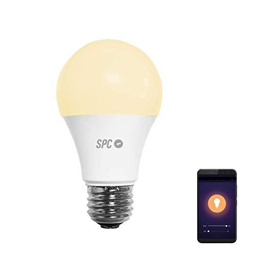 SPC Atria 800: Bombilla LED Wi-Fi E27, 9W, 800lm, iluminación inteligente, luz blanca cálida, intensidad regulable, control remoto app SPC IoT, Compatible con Alexa, Google Home, IFTTT, A+